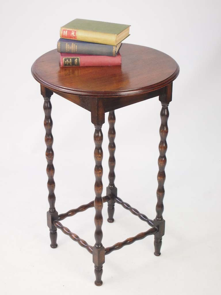 Small Edwardian Oak Side Table Lamp Table