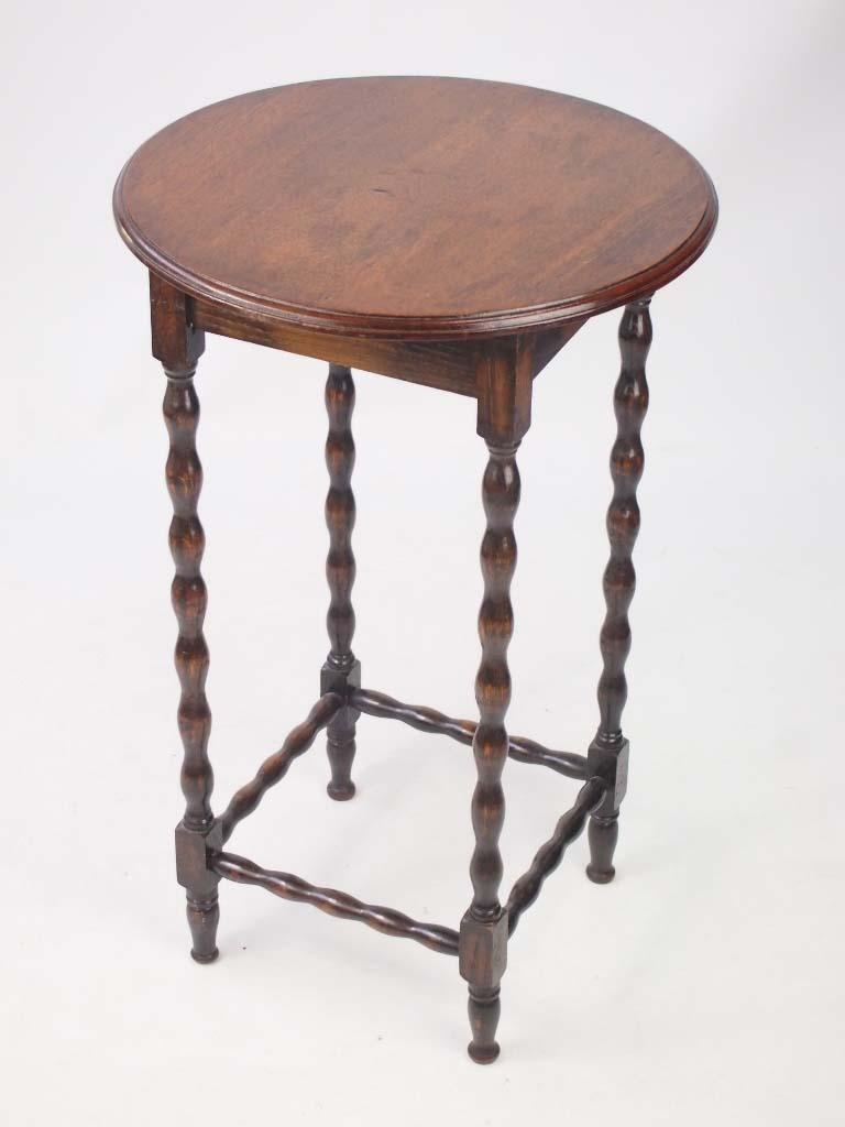 Small Edwardian Oak Side Table Lamp Table