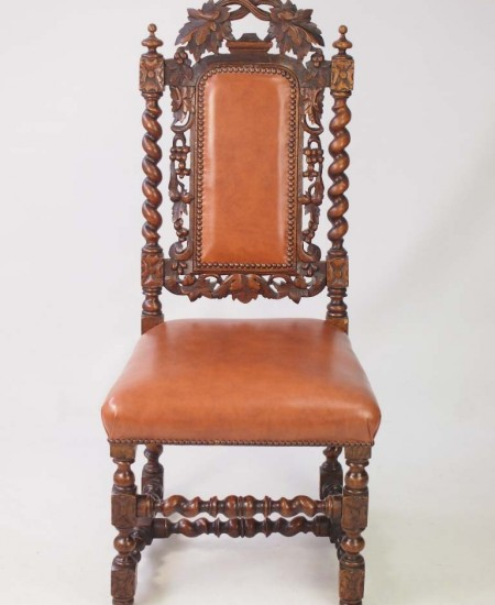 Antique Victorian Gothic Revival Oak And Leather Chair