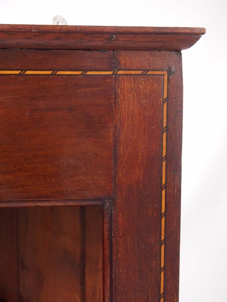 pair edwardian hanging corner cabinets    tall shelf unit