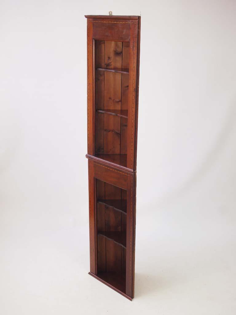 pair edwardian hanging corner cabinets tall shelf unit. Black Bedroom Furniture Sets. Home Design Ideas