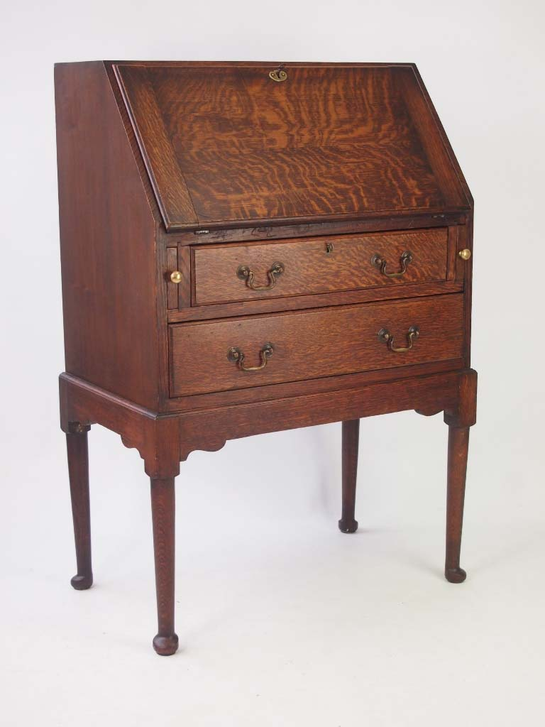 Small Antique Edwardian Oak Bureau