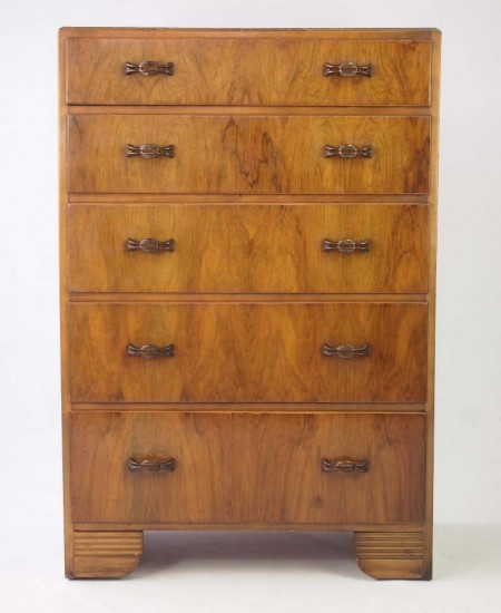 Tall Art Deco Walnut Chest of Drawers