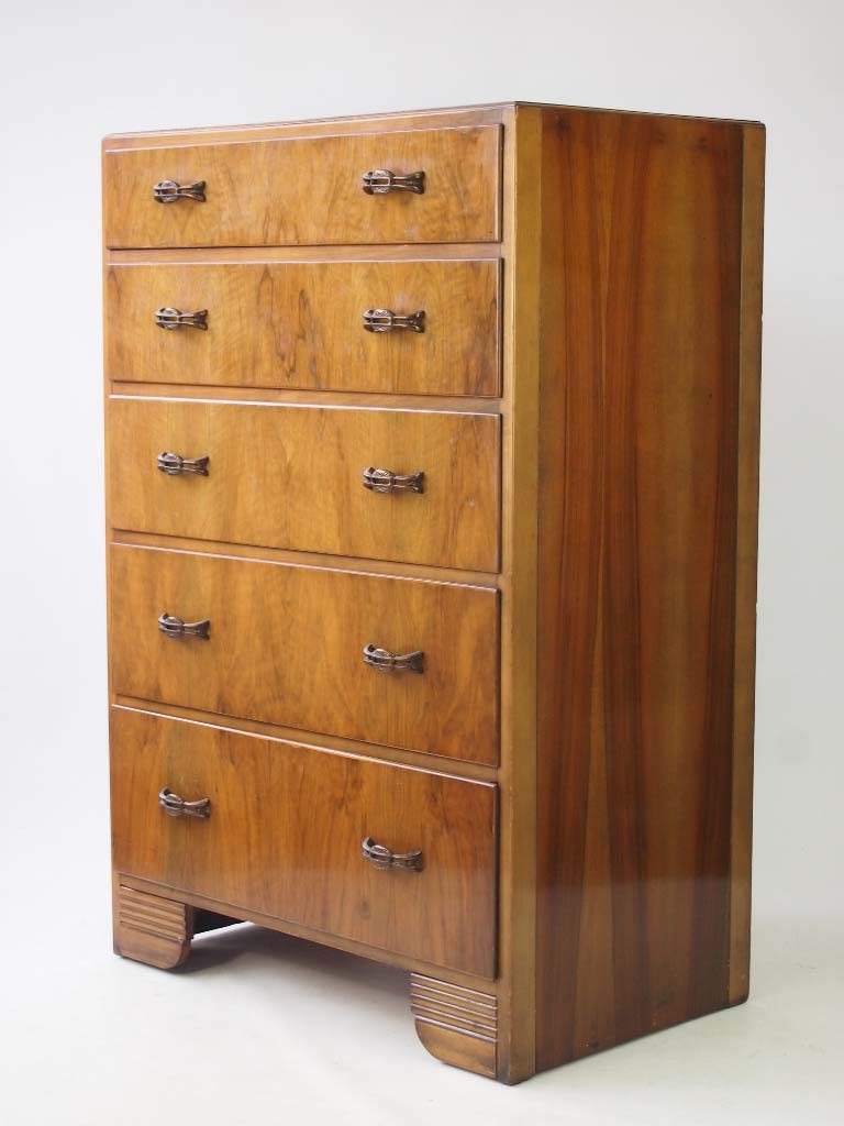 tall art deco walnut chest of drawers. Black Bedroom Furniture Sets. Home Design Ideas