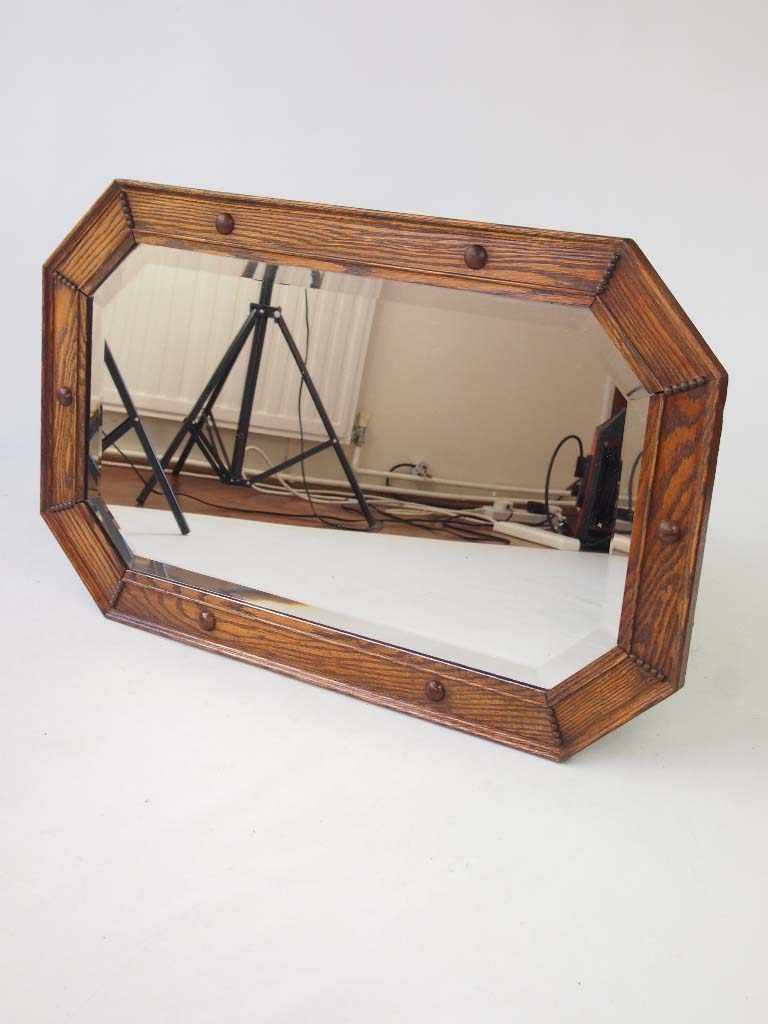 Vintage Oak Framed Mirror Overmantle