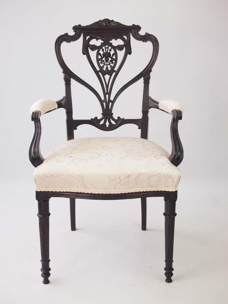 Antique Edwardian Desk Chair Open Armchair
