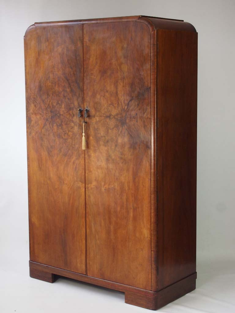 Art Deco Walnut Wardrobe With Fitted Interior