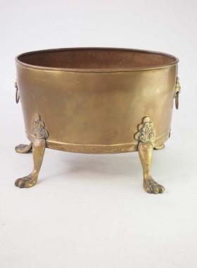 Brass Log Bin with Lions Paw Feet