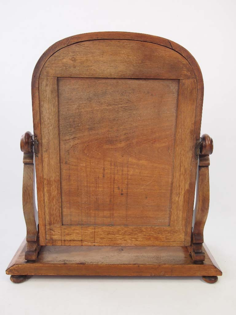 Antique Victorian Mahogany Toilet Mirror With Label