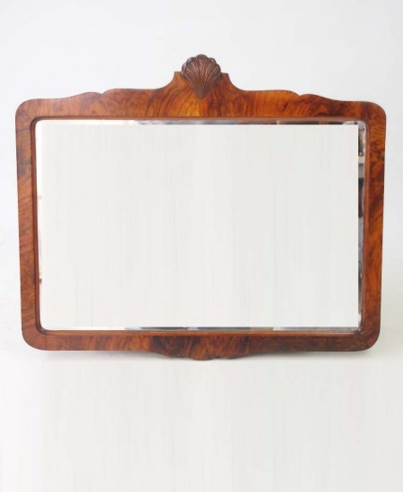 Art Deco Shell Carved Walnut Mirror