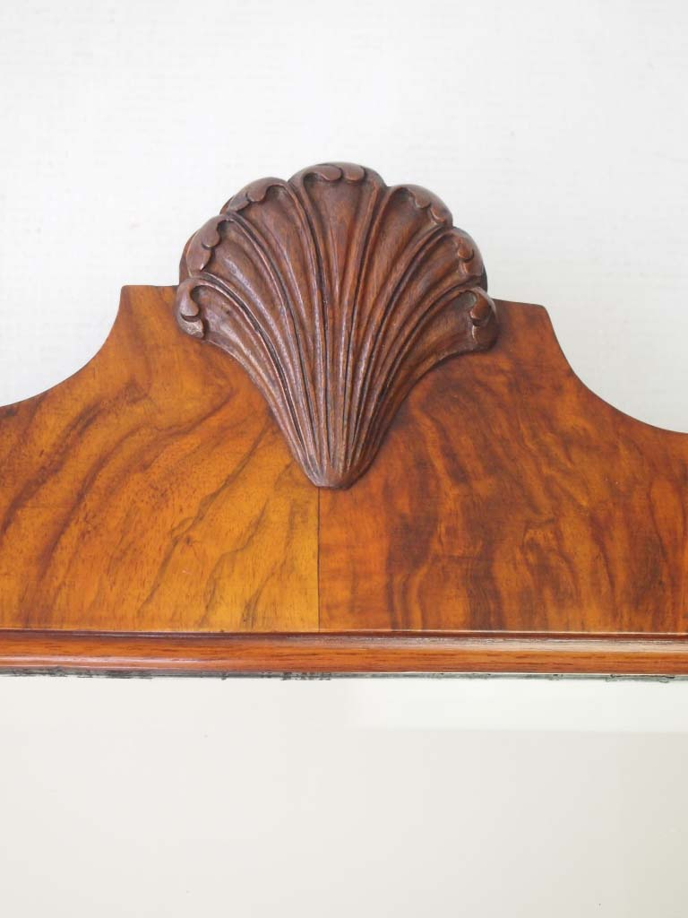 Art Deco Walnut Framed Shell Carved Mirror