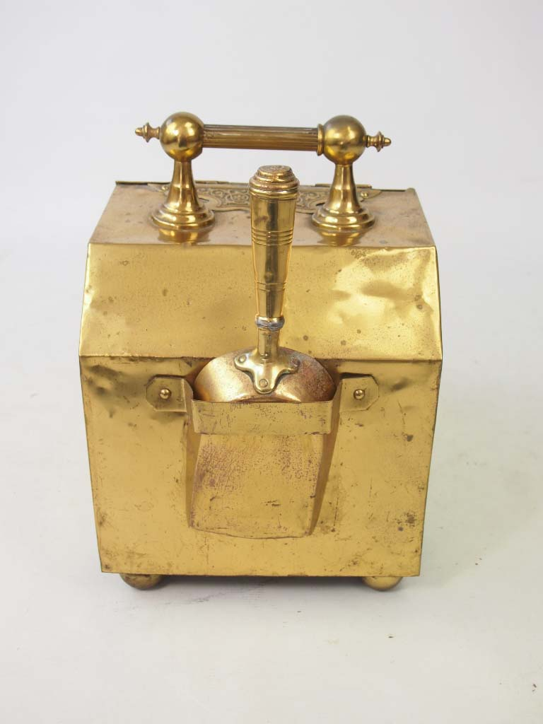 Antique Arts & Crafts Brass Coal Scuttle / Log Bin