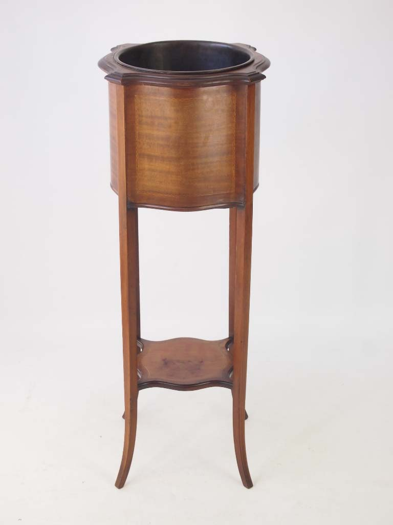 Antique Wooden Chairs >> Edwardian Mahogany & Inlaid Jardinière / Plant Stand