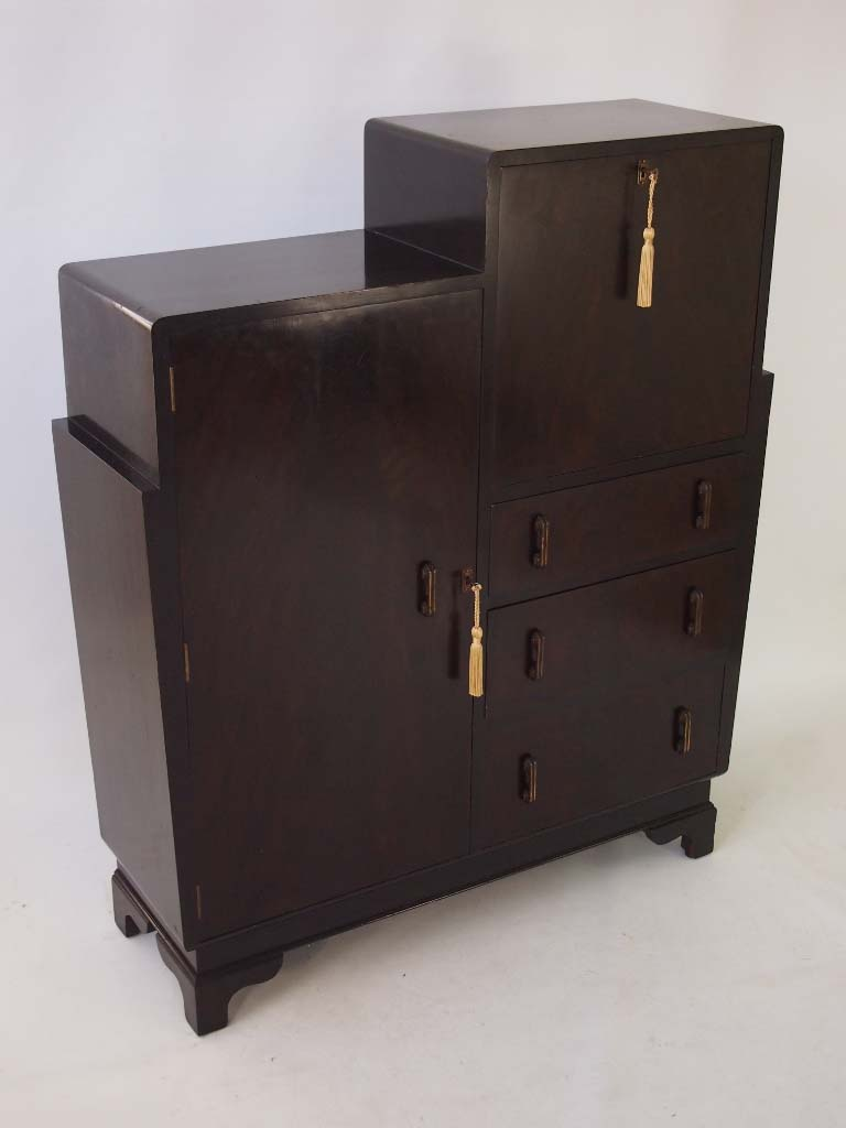art deco walnut bureau cabinet. Black Bedroom Furniture Sets. Home Design Ideas