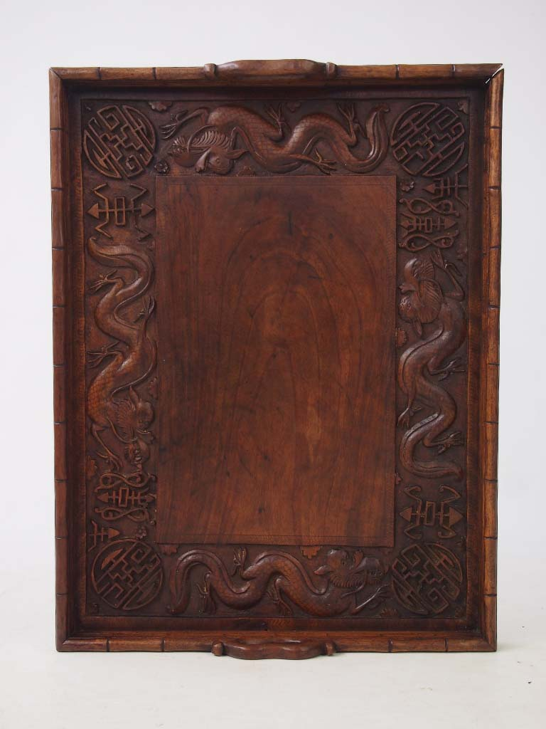 Vintage Chinese Dragon Carved Tray