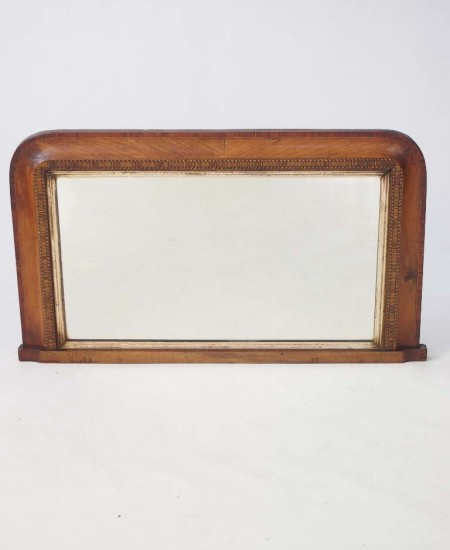 Victorian Walnut & Marquetry Overmantle Mirror