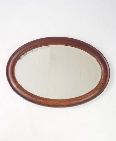 Large Vintage Oak Oval Framed Mirror