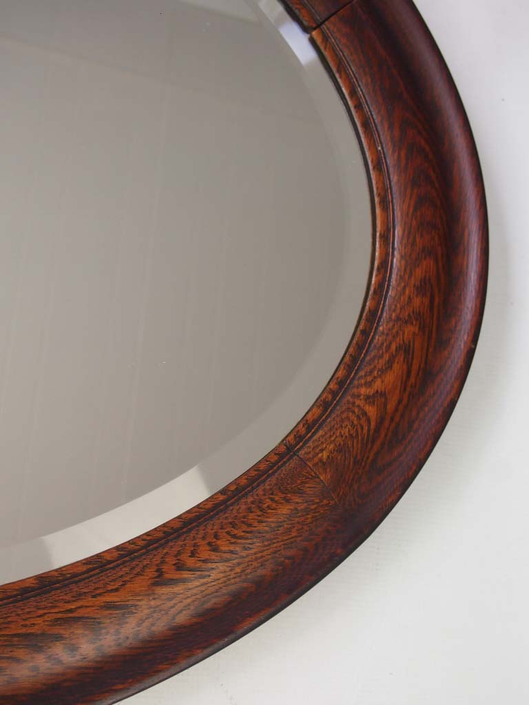 Large Vintage Oval Oak Framed Mirror