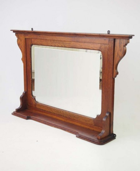 Arts and Crafts Oak Overmantle Mirror