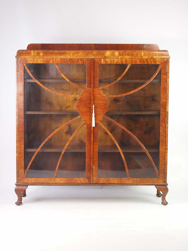 Vintage Art Deco Walnut Bookcase