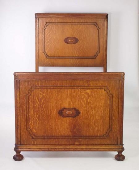 Pair Vintage Oak Single Beds