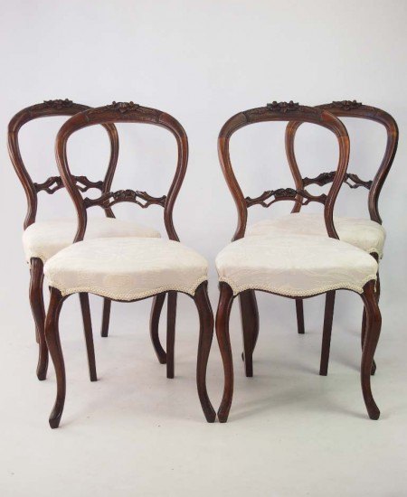 Set 4 Victorian Balloon Back Chairs