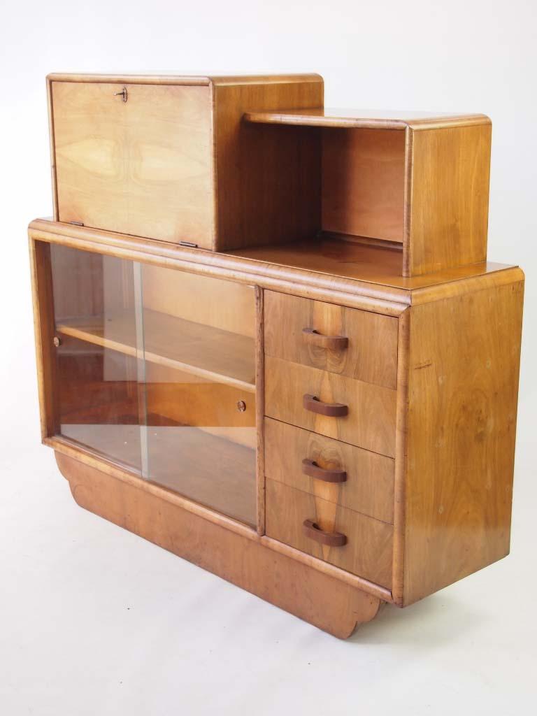 Vintage Art Deco Walnut Side Cabinet With Label