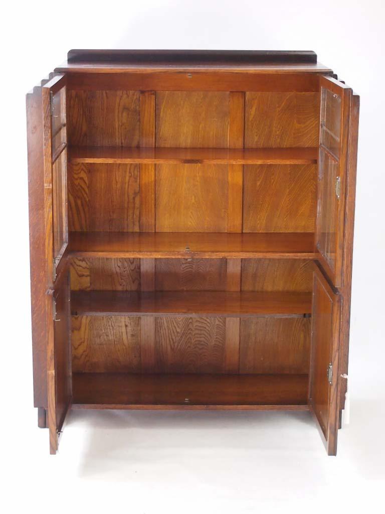 Vintage Art Deco Oak Bookcase