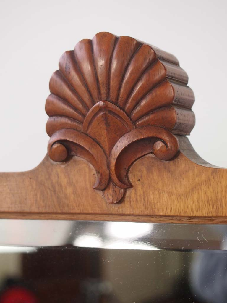 Vintage Walnut Framed Shell Carved Mirror
