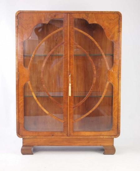 Small Art Deco Walnut Display Cabinet