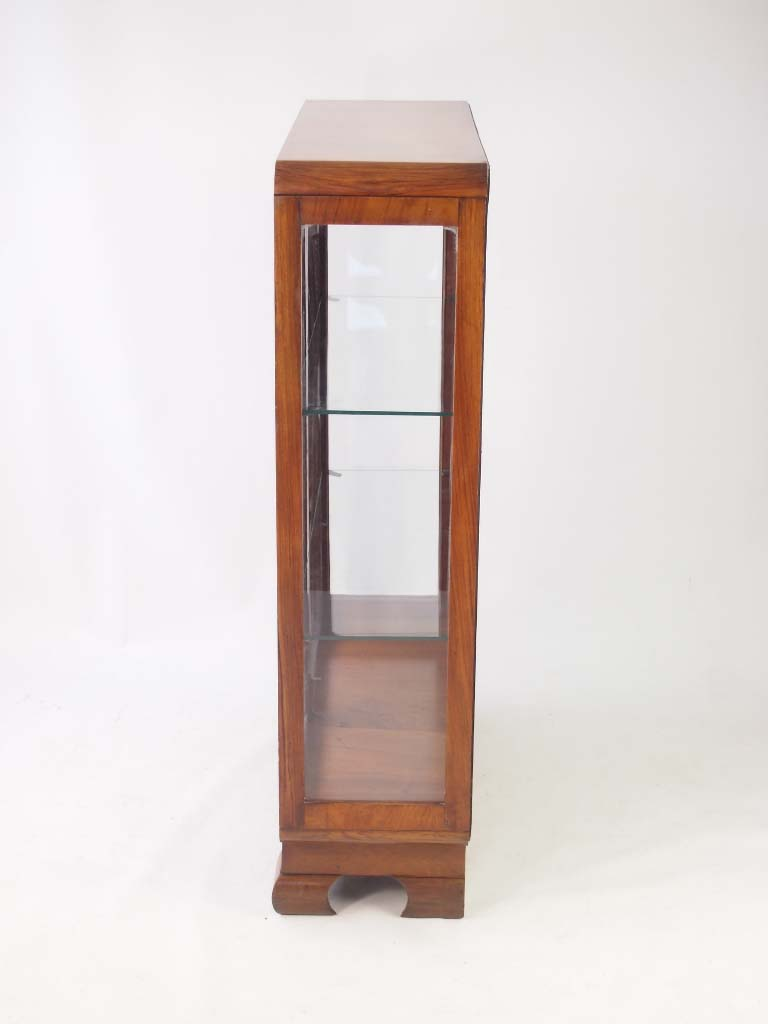 Small Art Deco Walnut Display Cabinet Bookcase