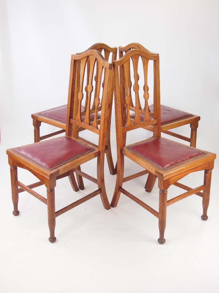 Set 4 Antique Arts Amp Crafts Oak Dining Chairs