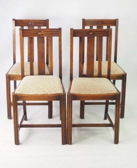 Set 4 Art Deco Oak Chairs