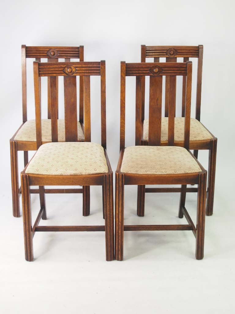 Set 4 vintage art deco oak dining chairs for Oak dining chairs
