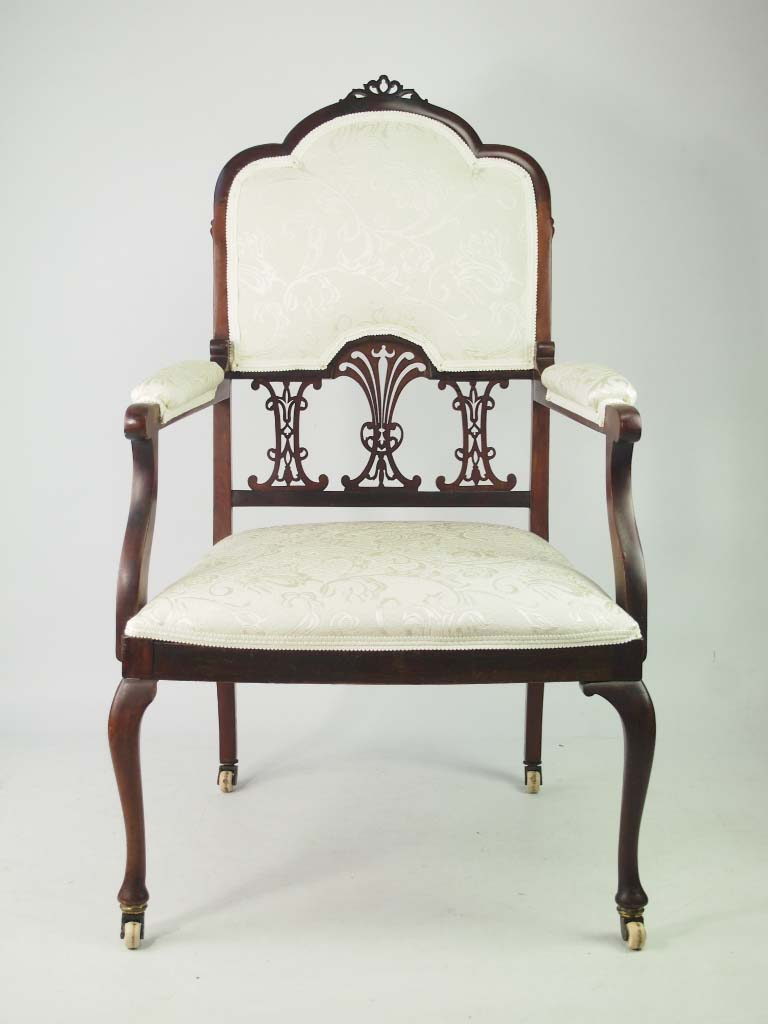 Antique Edwardian Mahogany Armchair / Bedroom Chair