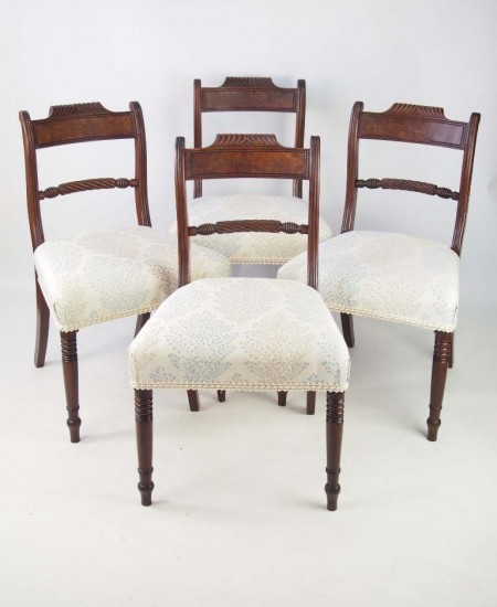 Set 4 Antique Regency Mahogany Dining Chairs