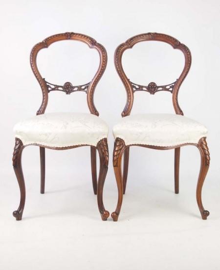 Pair Victorian Balloon Back Chairs