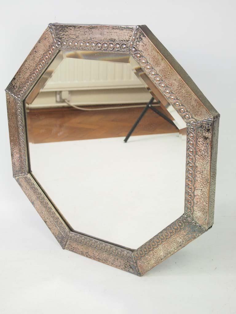 Vintage Hexagonal Metal Framed Wall Mirror