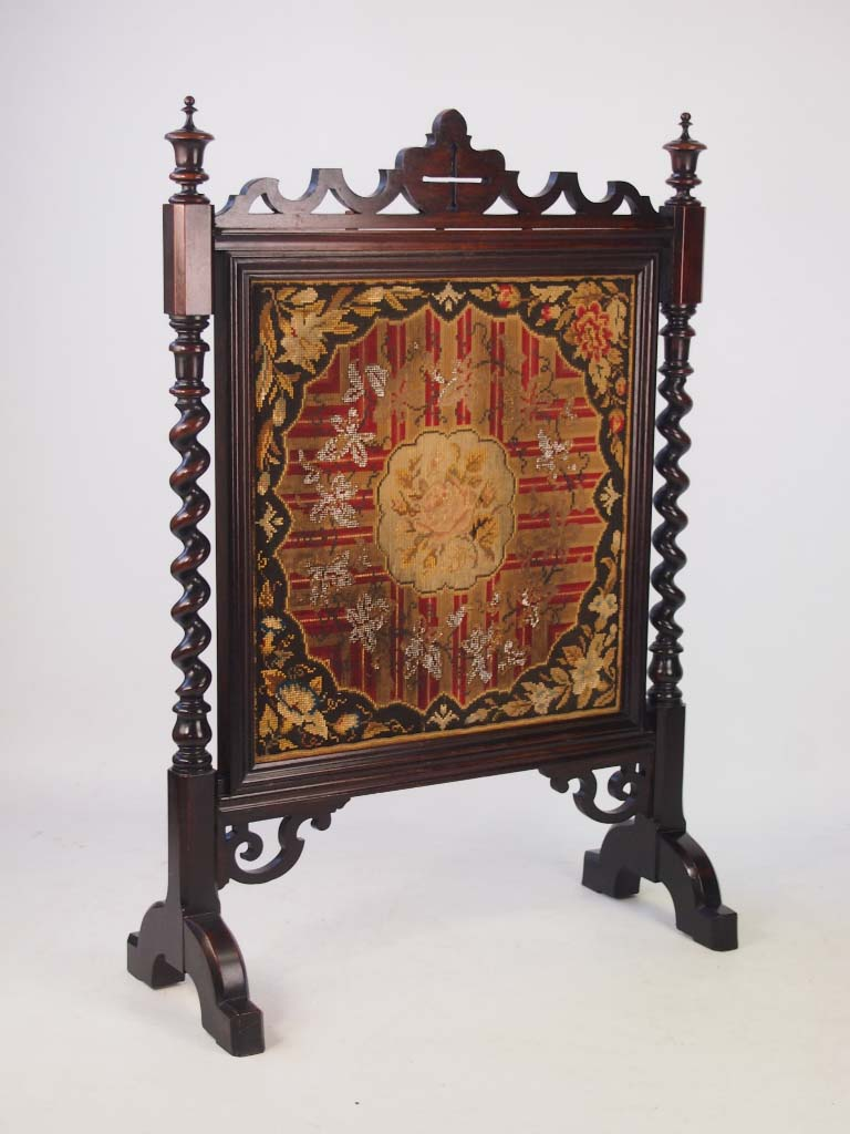 Victorian Rosewood Needlework Fire Screen
