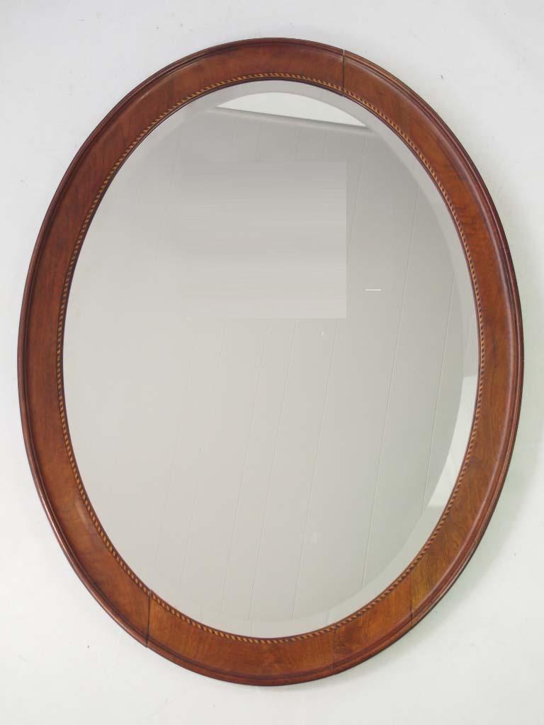 Large Antique Edwardian Oval Mirror