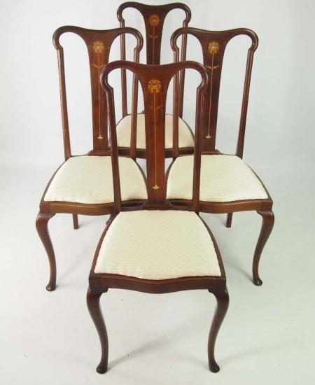Set 4 Antique Edwardian Art Nouveau Chairs