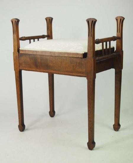 Edwardian Arts Crafts Piano Stool