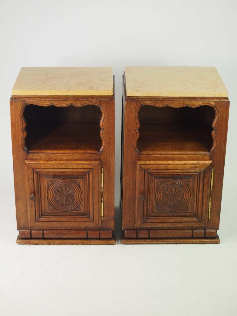 Pair Vintage French Oak Bedside Cabinets