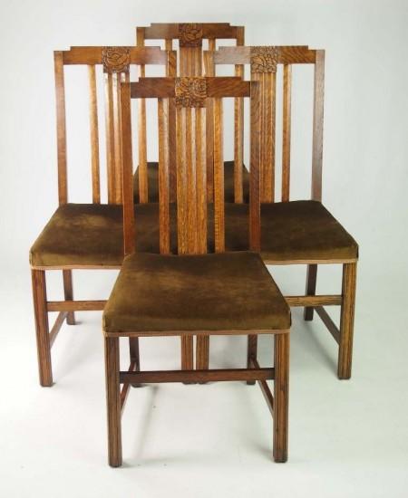 Set 4 Art Deco Oak Chairs
