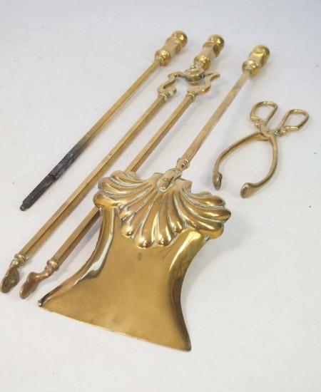 Set Victorian Brass Fire Irons