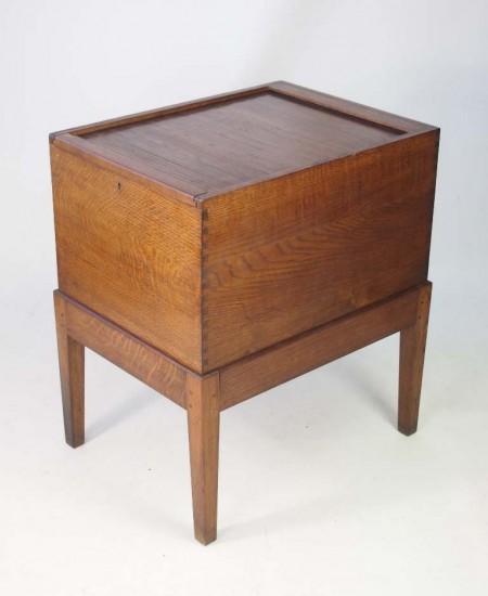 Vintage Oak Tambour Top Filing Cabinet