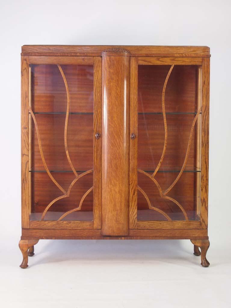 Vintage Art Deco Oak China Cabinet Bookcase