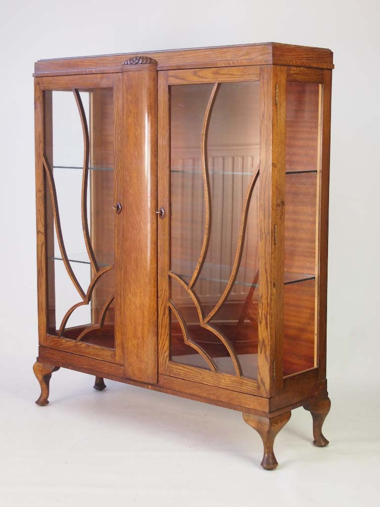 Vintage Art Deco Oak China Cabinet Bookcase