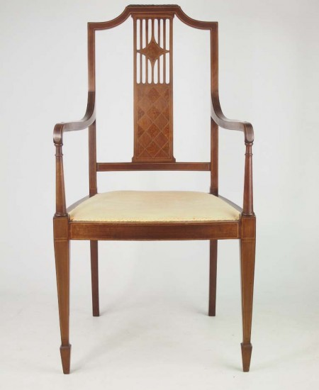 Edwardian Mahogany and Inlaid Armchair