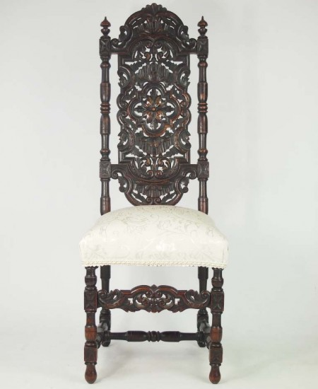 Antique Victorian Carved Oak Gothic Chair - Small Antique Victorian Gothic Footstool For Sale -